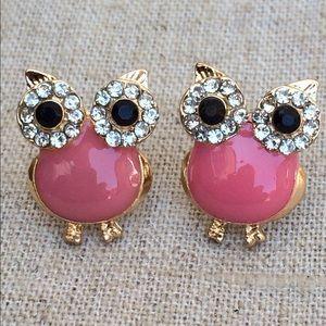 Gold Tone Crystal Pink Enamel Owl Stud Earrings