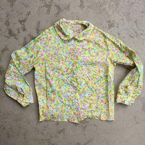 Vintage Neon Floral Blouse