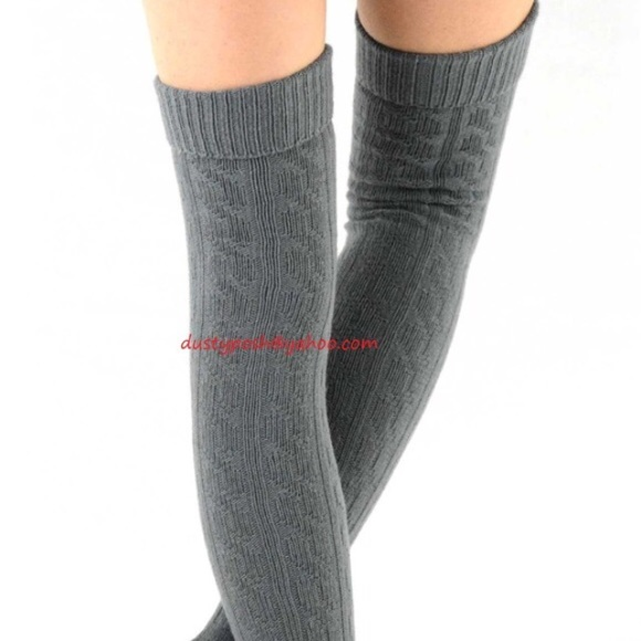 71b9d50ca Cable Knit Over The Knee Socks Thigh High Black Gr