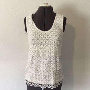 J CREW-scalloped tier laced tank