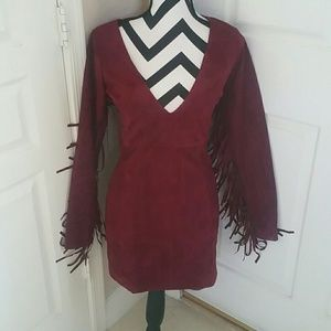 Lulu Dresses & Skirts - Cowgirl Burgandy Wine Suede Bodycon Dress NWOT