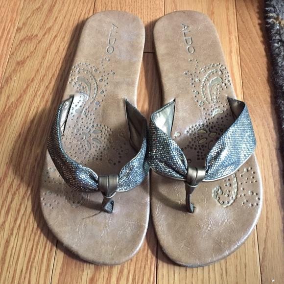 ALDO Shoes - ALDO brown and gold sparkly flip flops.