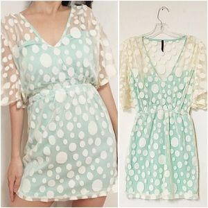 Polka dot lace mint dress