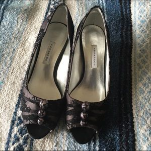 Caparros Black/Gray Lace Heels