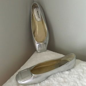 Wanted Shoes - Silver Ballet Flats Buckle Design