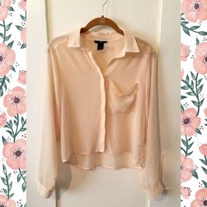 Tops - Sheer Light-Pink Button-down Blouse