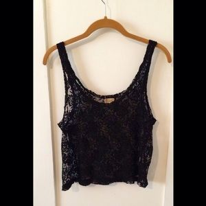 Tops - Sheer crochet lace crop-top.