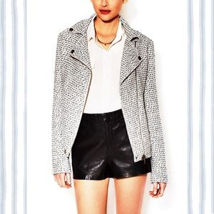 Jackets & Blazers - Tweed Motorcycle Jacket w metallic thread detail.