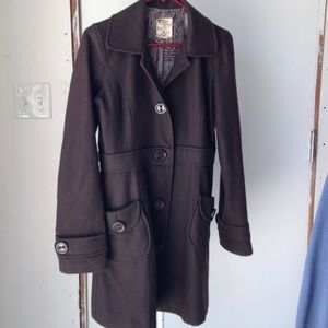 Tulle short trench wool coat. Chocolate brown.