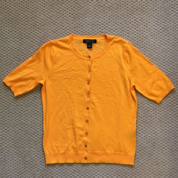 88% off august silk Sweaters - Orange Short Sleeve Cardigan ...
