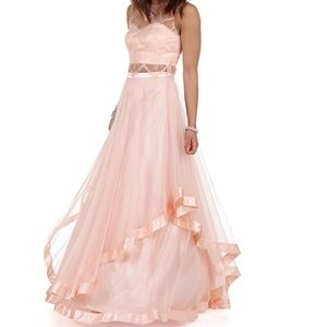 Pink Lace Windsor Prom Dress