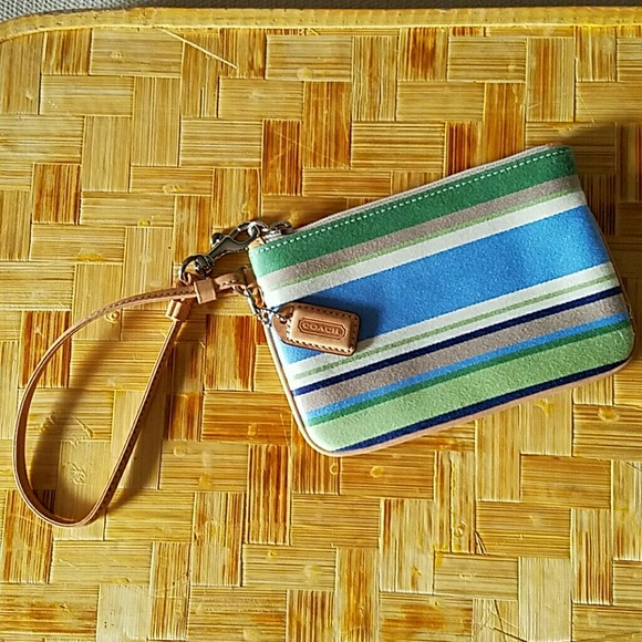 Coach Handbags - FINAL PRICE Coach Stripe Wristlet blue/green/tan