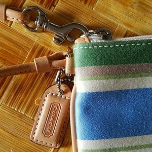 Coach Bags - FINAL PRICE Coach Stripe Wristlet blue/green/tan