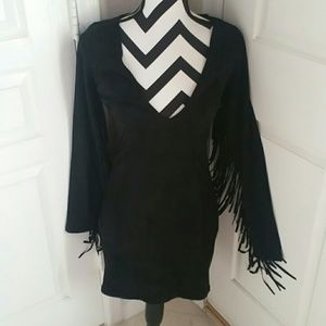 Lulu Dresses & Skirts - Cowgirl Black Suede Bodycon Dress NWOT