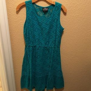 Turquoise crochet dress sz L