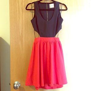 Alythea Black & Red Silk Cutout Dress