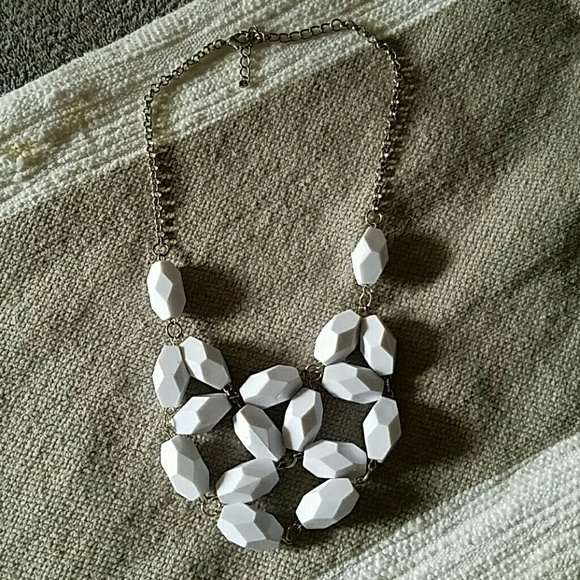 Francesca's Collections Jewelry - Silver and White Bead Statement Necklace