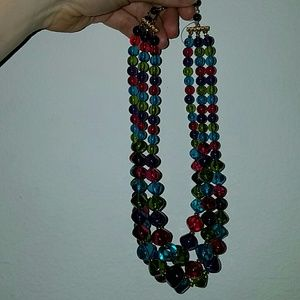 Vintage Jewelry - Vintage jewel toned three strand beaded necklace