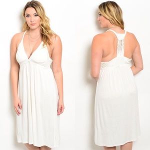 Boutique Dresses & Skirts - 🎉LAST 1🎉 Plus Size Ivory Sleeveless Midi Dress