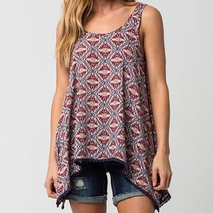 White Crow Tops - 'White Crow' Red + Navy Patterned Tank