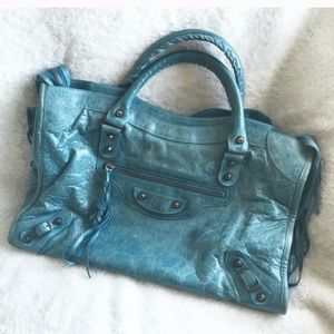 BALENCIAGA Aquamarine Motorcycle City Handbag