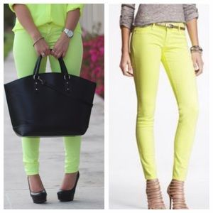Express Denim - MOVING SALE❗️Neon Lime / Yellow Skinny Jeans