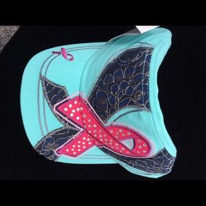 Kbethos Other - Kbethos teal with pink ribbon rhinestones hat