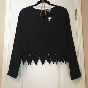 Urban Outfitters sheer lace trimmed crop top