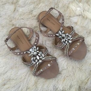 New Look Shoes - New Look jeweled studded flat sandals 7