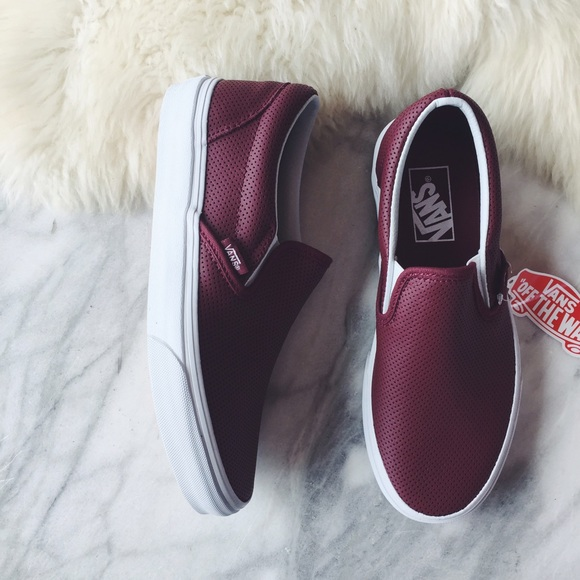 c5177bec918 Vans Port Wine Perforated Leather Slip Ons