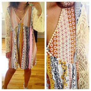 Beautiful Peasant Boho Patchwork Lace Sleeve Dress