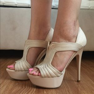 H by Halston Shoes - H by Halston Nude Platforms! Size 6