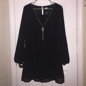 Black Sheer Dress with Liner Sz L