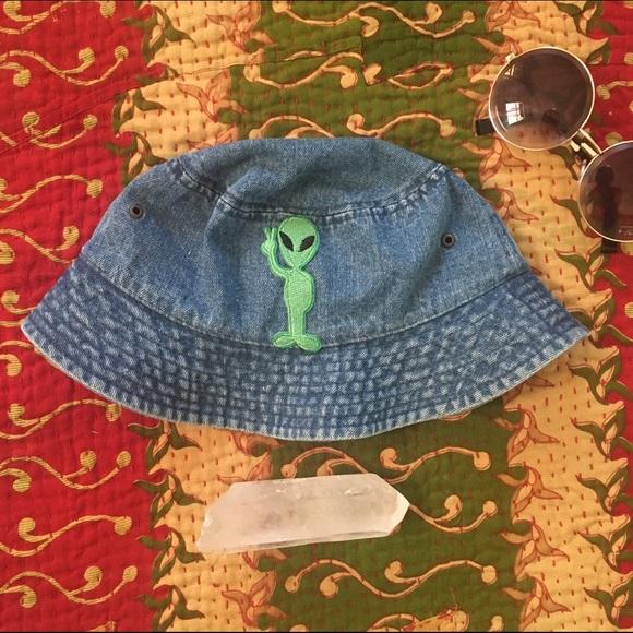 f3d75816980 Brandy Melville Accessories - Alien Patch Denim Bucket Hat