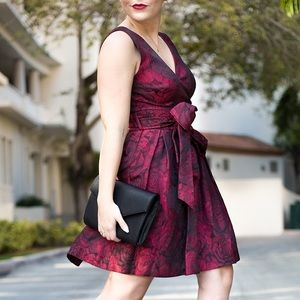 Darling Dresses & Skirts - Black + Burgundy Rose Print Dress