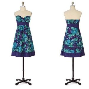 Anthro floral strapless dress