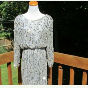 Dresses & Skirts - Vintage silver cocktail dress with sequins