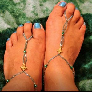 Created By Gina Shoes - Barefoot Sandals With Gold Cross ~ Handmade