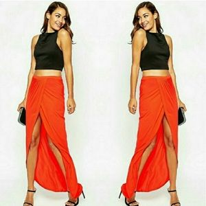 ASOS tomato colored maxi skirt