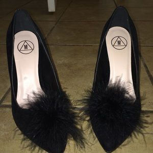 velvet pointed toe heels with fluff ball