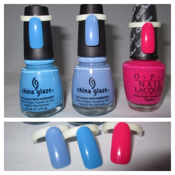 Makeup | 3 New X Opi China Glaze Nail Polish Blue Pink | Poshmark