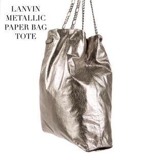Lanvin Handbags - LANVIN METALLIC CRINKLE LAMBSKIN 'PAPER BAG' TOTE
