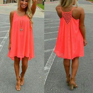 00479364b89f Dresses - New! Bright Neon Orange Summer Cage Back Dress