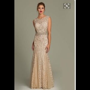Jovani Champagne Beaded Dress