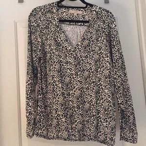 Ann Taylor loft leopard print blouse M