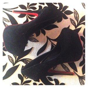 55bee4c0d66 Black Faux Suede Red Bottom Stilettos EUC