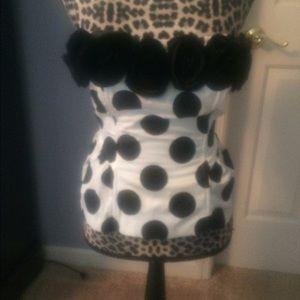 Corset black and white polka dot