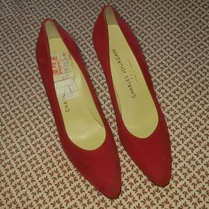 Charles Jourdan Shoes - Vintage red suede shoes