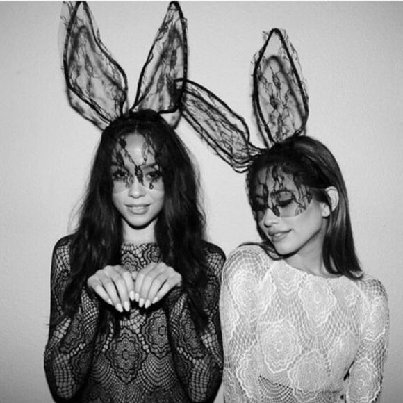 NWT • Black Lace Bunny Ears • Costume Halloween •