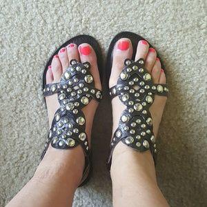 Diba Shoes - DIBA dark brown Studded sandals